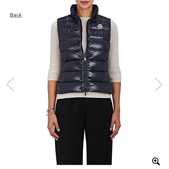 Navy blue Moncler Ghany Down tech taffeta vest
